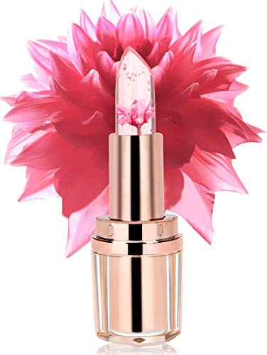 PrettyDiva Jelly Flower Lipstick - Color Changing with Temperature Mood Lipstick Moisturizer Lip Gloss Balm - Barbie - Tone Crystal Fuchsia
