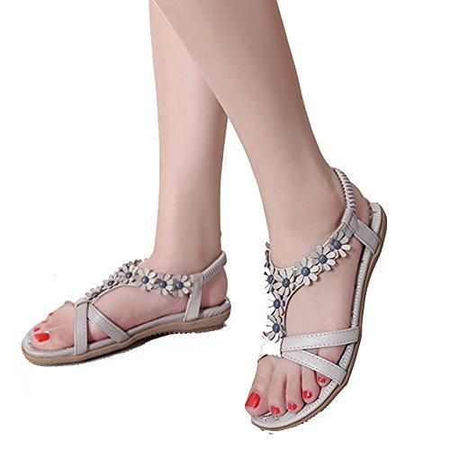 TEERFU - Sandalias de vestir de Material Sintético para mujer gris