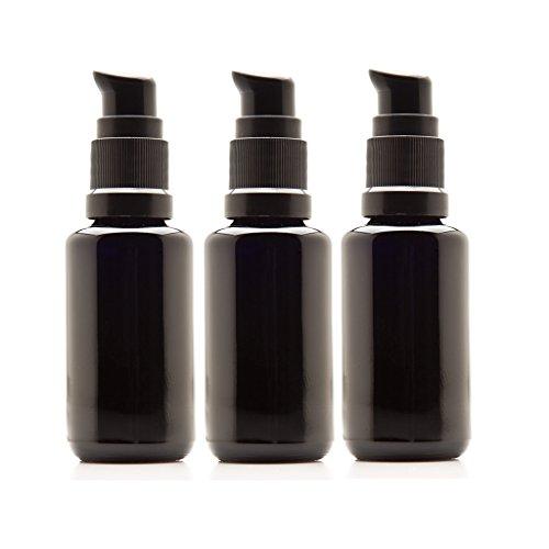 Infinity Jars 30 Ml (1 fl oz) Black Ultraviolet Glass Push Pump Bottle 3-Pack