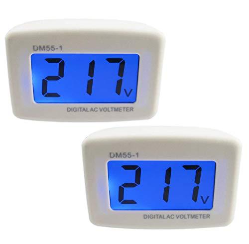 (Yeeco 2 PCS Wall Flat US Plug LCD Digital Voltmeter Volt Panel Meter Voltage Tester Gauge AC 80-300V 110V 220V Voltage Measuring Monitor Volt Monitoring Measure Measurement Household Camper Voltage Te)