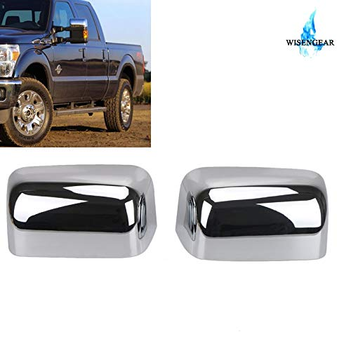Pukido for Ford Super Duty F250 F350 F450 2008-2016 Triple Chrome Plated Top Half Mirror Cap Cover Overlays Rearview Side Mirror Trim (Chrome F450 Cover)