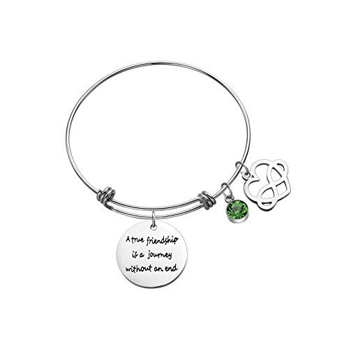 Sunflower Jewellery Birthstone Charm Bracelet A True Friendship is a Journey Without an end (August) (Birthstone Charm Boy August)