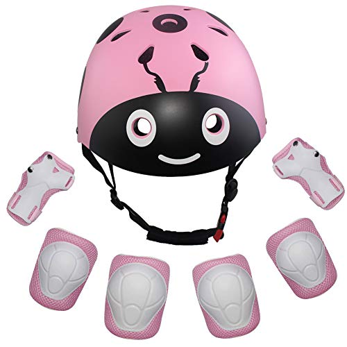LANOVAGEAR Kids Protective Gear Set Adjustable Helmets Knee Elbow Pads Wrist Guards for Sports Bicycle Skateboard Roller Blading Skate Cycling (Pink, Small) ()
