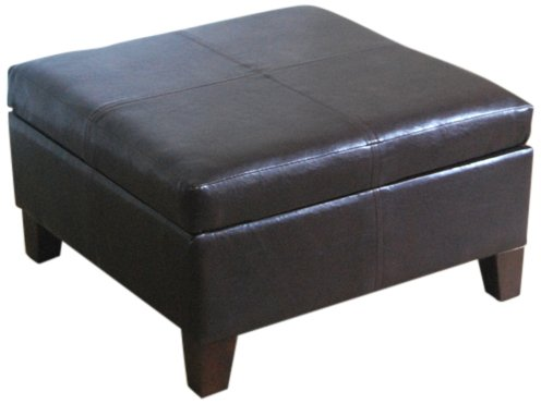 Kinfine Bonded Leather Square Storage Ottoman Coffee Table with Wood Legs, Brown (Table Ottomans)