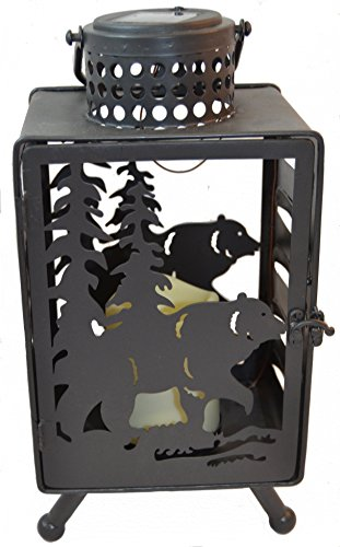 (Bear LED Candle Lantern Lights Decorative - Metal Square Holder Tabletop & Hanging Lantern for Indoor Outdoor by Pine Ridge | Solar AA Rechargeable Battery | Flameless Home Halloween & Christmas)