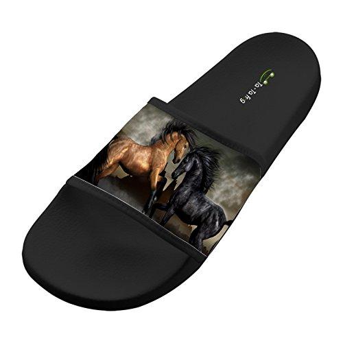 SsSEYYA Anti-Slip Indoor Floor Sandal Bath Slipper Brown Horse PK Black Horse For Women Men Black 7 B(M) US