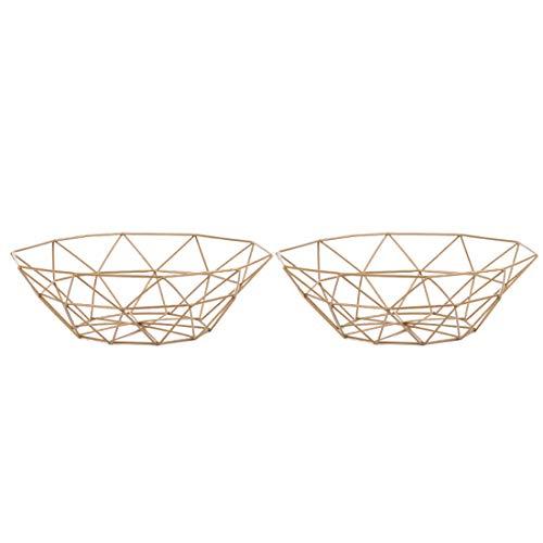 Fruit Bowl Two Pack, YIFAN Fruit/Vegetable Basket Iron Art Metal Market Basket, 10.6