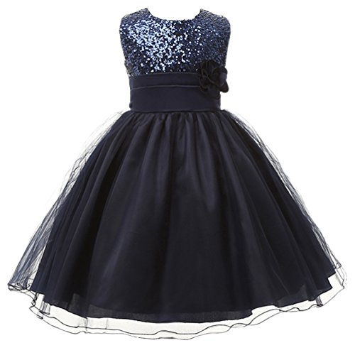 ower Sequin Princess Tulle Party Dress Birthday Ball Gowns 5 Navy Blue ()