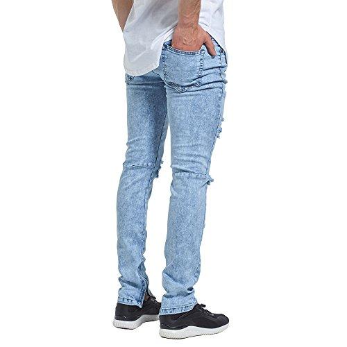 Vaqueros para Hombre de Pantalones de Trende Pantalones Oudan Moda la para Azul Hombre Vaqueros Azul Rasgados aFnwxqPvz