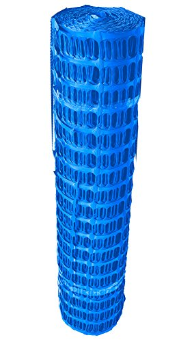 41GCQdkI5JL UvV Set Fangzaun blau 50 m + 10 Absperrleinenhalter, Absperrnetz, Maschenzaun, Bauzaun Rolle Kunststoff Extra Reissfest…