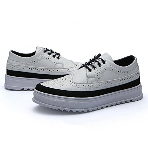 Men's Shoes Feifei Winter Leisure Thick Bottom Leather Shoes 3 Colors (Color : White, Size : EU40/UK7/CN41)