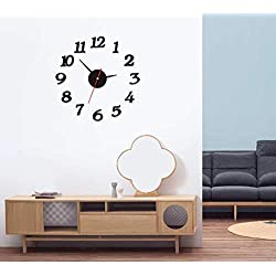 AKAHA 3D DIY Wall Clock, Modern Home Office Decorations, Frameless, Numbers Stickers, Black