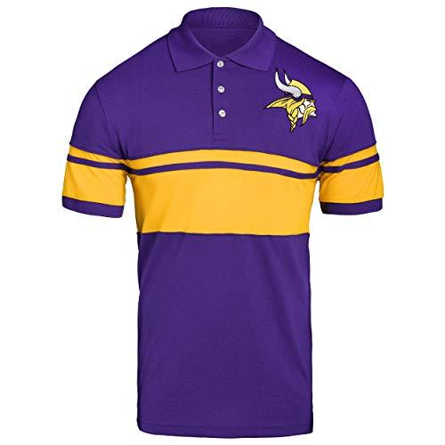 (FOCO NFL Minnesota Vikings Football Team Logo Cotton Stripe Polo Shirt, Team Color,)