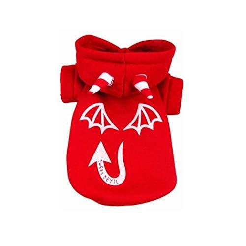 haoricu Halloween Luminous Devil Hoodie Coat Cotton Hoodied Sweatshirts Dog Hoody Pullover -