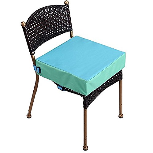Toddler Booster Seat for Dining Double Straps Washable Portable Thick Chair Increasing Cushion for Baby Kids (Blue)