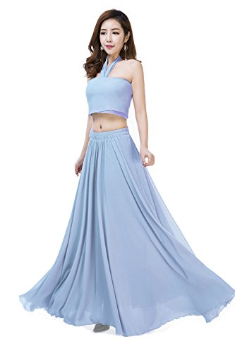 - Sinreefsy Women Summer Chiffon High Waist Pleated Big Hem Full/Ankle Length Beach Maxi Skirt(Large/Azure)
