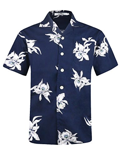 - Men's Hawaiian Shirt Short Sleeve Aloha Shirt Beach Party Flower Shirt Holiday Print Casual Shirts Navy EHS016-M