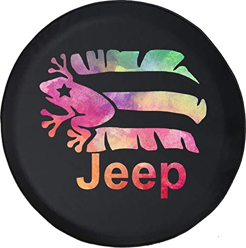 Liberty Puerto Rico - JL Series Jeep Spare Tire Cover with Backup Camera Hole Watercolor - Jeep Puerto Rico Frog Black 32 in