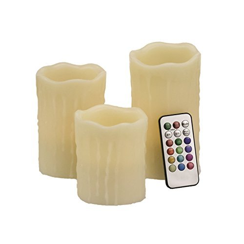 Safeway Candlelites - Set of 3 Drip-Look Round LED Candle Lights 3'' 4'' 6'' Vanilla Scented, Flameless, Color Changing With Flickering Flame, Smooth Real Wax, High Performance With Remote Control Timer by Safeway Sales (Image #1)