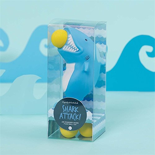 Cartwheels & Cupcakes Shark Attack! Air Powered Foam Ball Toy in Gift Box with 5 foam balls -