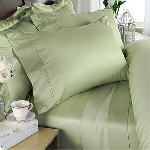 Egyptian Bedding 300-Thread-Count Egyptian Cotton 300TC Sheet Set, Queen, Sage Solid 300 TC ()