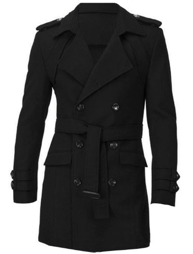 Allegra K Mens Notch Lapel Jacket Double Breasted Peacoat Wool Trench Coat