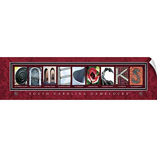 (CANVAS ON DEMAND Campus Letter Art Wall Peel Wall Art Print Entitled Gamecocks - University of South Carolina Campus Letters 72