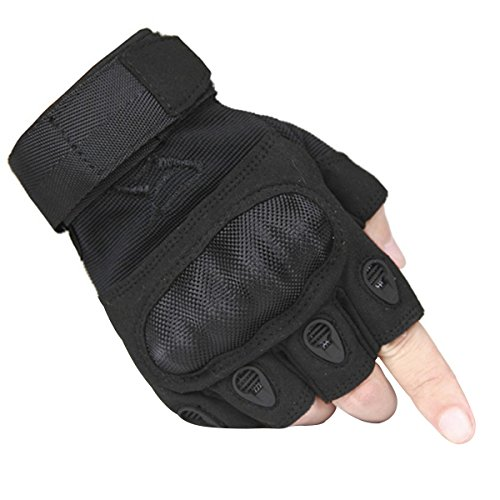 FREE SOLDIER Outdoor Men Military Hard Knuckle Half Finger Glove Tactical Armor Gloves (Black Small)