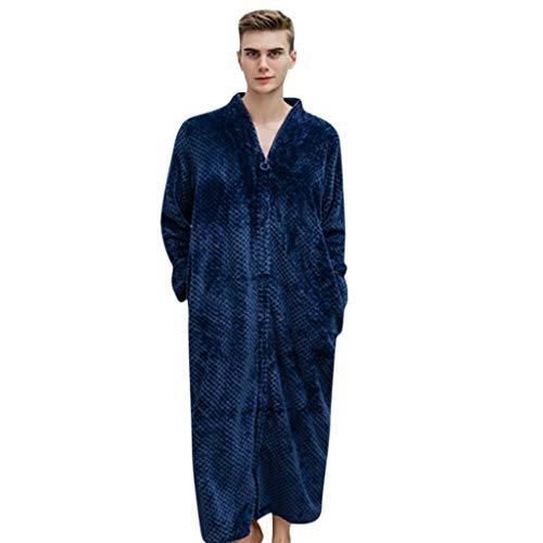 Simayixx Men's Flannel Nightgown Bathrobe, Lightweight Long Robe Long Kimono Pajamas Robe Soft Sleepwear Navy from Simayixx
