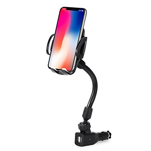 3-In-1 Cigarette Lighter Car Phone Mount, Amoner Car Mount Charger Phone Holder Cradle with Dual USB 2.1A Charger for iPhone X 8 8 Plus 7 7 Plus 6 Samsung Galaxy S9 S8 S8 Plus S7 and More Smartpones by Amoner
