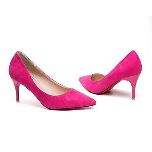 AalarDom Damen Ziehen Auf Spitz Zehe Stiletto Rein Pumps Schuhe, Rosa-Nubukleder, 35.5