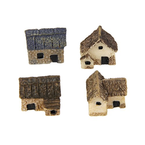 MagiDeal 1 Set 4 Miniature Dollhouse Bonsai Craft Fairy Garden Glass Vase Thatched Hut Decor