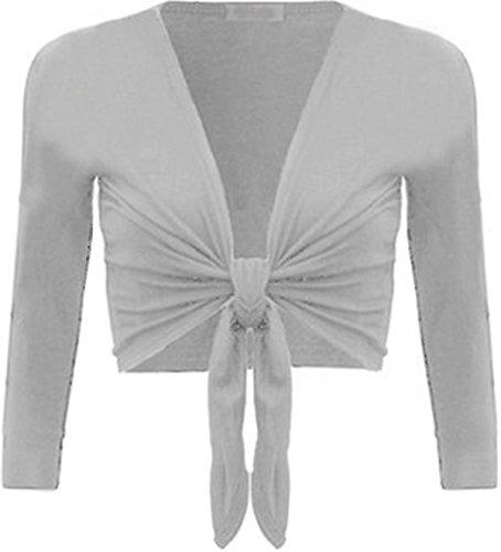 XCLUSIVECOLLECTION New para mujer Tie Up manga larga Bolero Shrug Club wear superior 8-14 gris