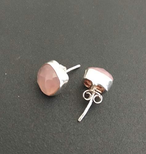 Rose Quartz Studs Earrings, 925 Sterling Silver Earrings, Stone Earring Jewelry Pink Quartz Boho Minimalist Dainty Gemstone Bridal Bridesmaid Earrings Cushion Cut earrings Gift For Her Promise Earring