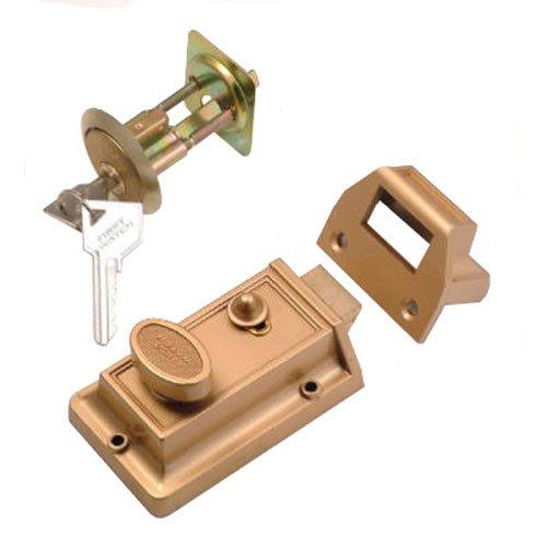 - Wright Products Rim Cylinder Night Latch, Brass #V380BR