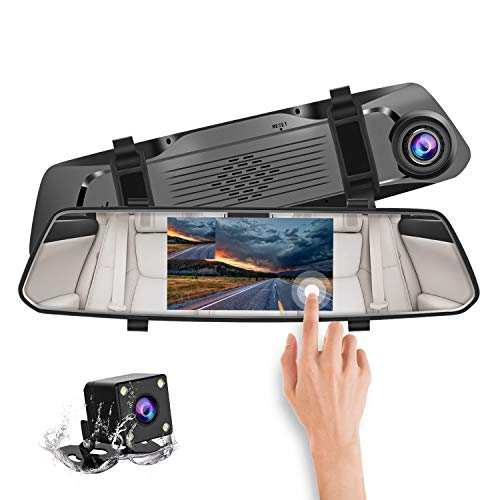 """CHICOM Backup Camera 5"""" Mirror Dash Cam with Touch Screen,1080P Front Rear View HD Camera, G Sensor, Reverse Monitor, Loop Recording"""
