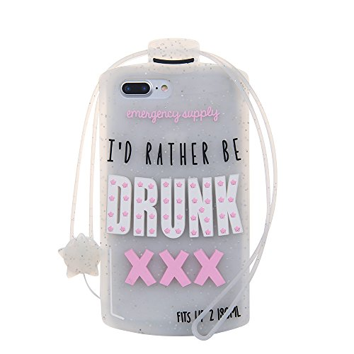 Gold Glitter Silver Wine Bottle Case for iPhone 7+ 7Plus 8+ 8Plus Large Size 5.5 With Strap ID RATHER BE DRUNK Soft Rubberized Silicone Shockproof Fun Special Unique Luxury Designer Fashion Girls