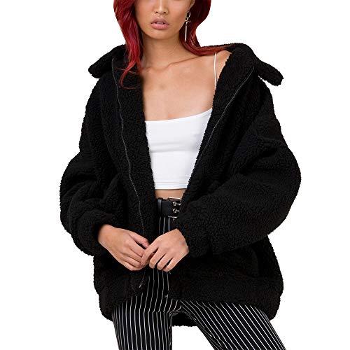 HAHASOLE Women Faux Shearling Coat Oversized Zip Open Front Long Sleeve Warm Winter Fuzzy Fleece Teddy Bear Jacket with Pockets (Black, S (US Size 0~2))