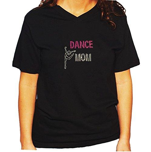 RhinestoneSuperstore Women's/Unisex T-Shirt With Dance Mom In Rhinestones (3X, Black V-Neck) - Ringspun Dance T-shirt