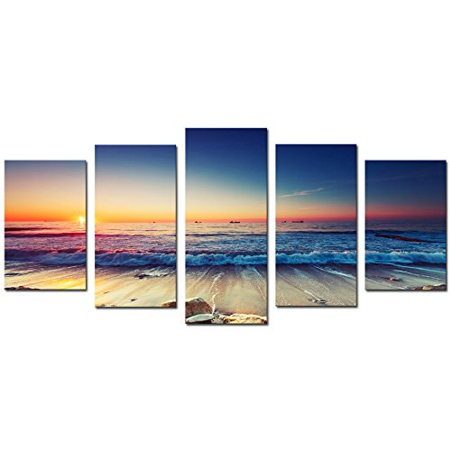 Cao Gen Decor Art-AS40129 5 panels Framed Wall Art Waves Painting on Canvas