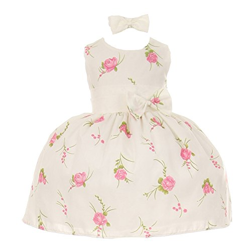 Baby Girls Pink Floral Print Headband Easter Special Occasion Dress 3M