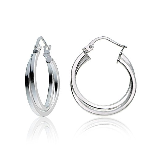 Polished Square Earrings - Hoops & Loops Sterling Silver Intertwining Square-Tube Polished Hoop Earrings, 20mm