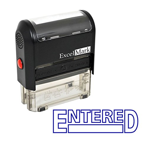 ExcelMark ENTERED Self-Inking Rubber Stamp - (A1539-Blue Ink)