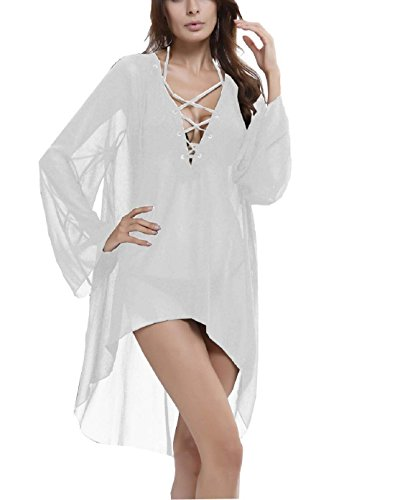 Wander Ago Beach Club Sexy Perspective Skirt Long Sleeve V-neck Dresses White,White,One Size