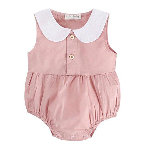 Dinlong Baby Boy Girls Summer Sleeveless Doll Collar Pink Romper Outfits Clothes (6-12 - Doll Dress Sleeveless Baby