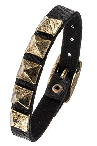 Karmas Canvas Thin Faux Leather Pyramid Spike Bracelet (Burnished - Bracelet Karma Leather