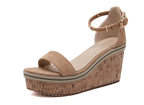 Peep Casual Wedges Brown ISHOP Women Toe Sandals Tech Sandals Summer pvwXPI7q