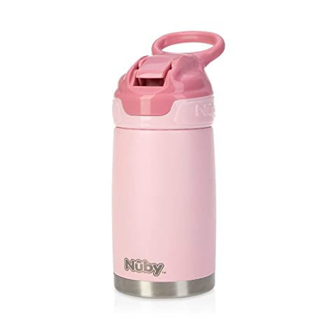 Nuby Sippy Cup, botella de agua de acero inoxidable para niños, rosa mate, de
