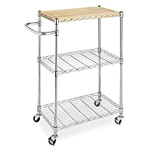 Whitmor Supreme Kitchen and Microwave Cart Wood & Chrome