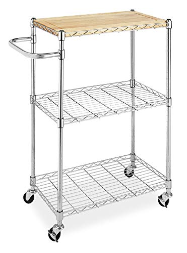 Adjustable Kitchen Cart - Whitmor Supreme Kitchen and Microwave Cart Wood & Chrome